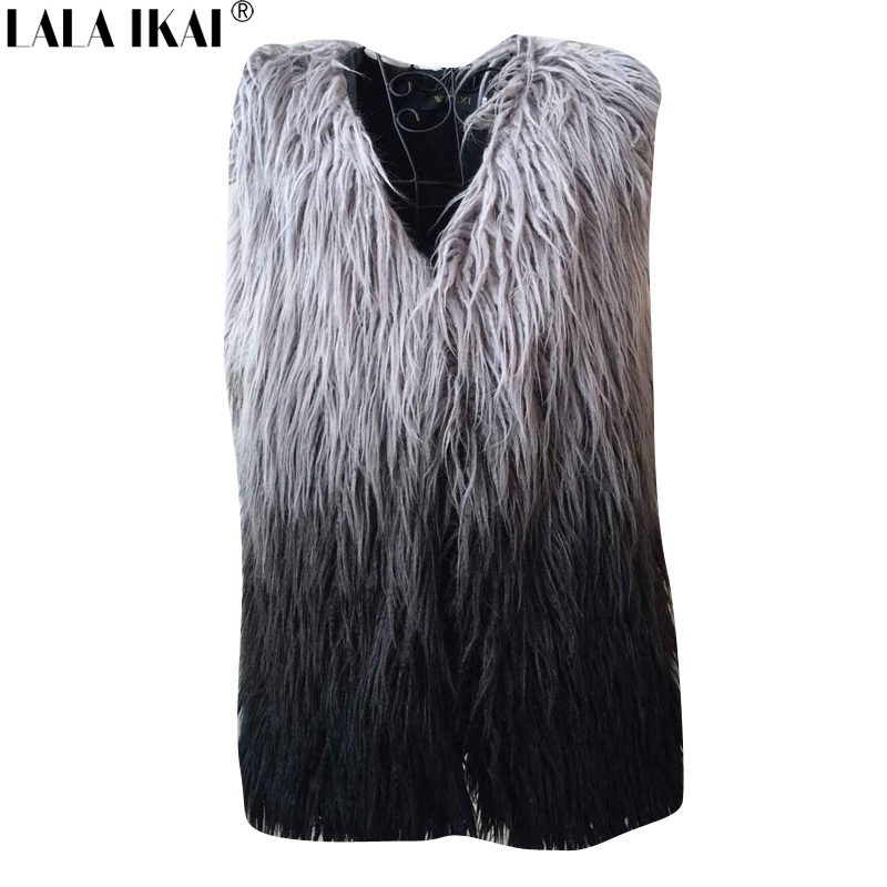 Gradient Color Women Faux Fur Vest and Coat Plus Size Womens Winter Fur Jackets and Coats Sheep Fur Long Vest Women NBA220-5