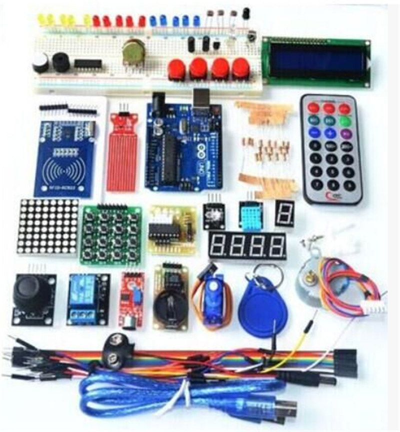UNO R3 KIT Upgraded version of the Starter Kit the RFID learn Suite LCD 1602 for arduino kit frree shipping top selling high qualiy uno r3 starter kit 1602 lcd dot matrix breadboard led resistor hot selling