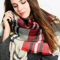 Za зимний шарф 2016 Шотландка женщин Шарф Плед Новый Дизайнер Унисекс Акриловая Основные Платки теплый красный цвет