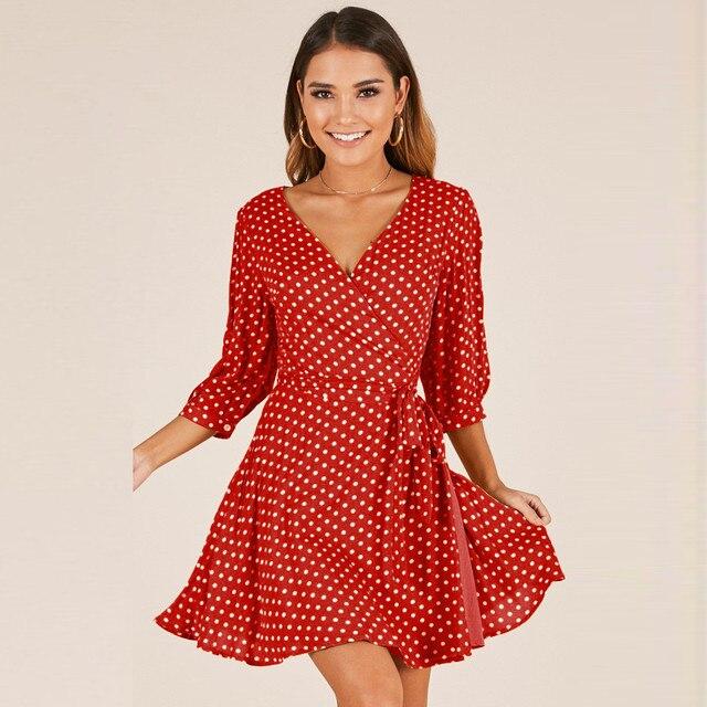 53dfb2354355 Polka Dot Print Sexy Summer Dress Beach Irregular Bow Ruffles Short Dress  Women V Neck 2018
