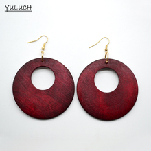 1 Pair Earring Retail Woman Fashion Latest African Hollow Good Quality Wood Earrings Jewelry Big Round Personality New Design