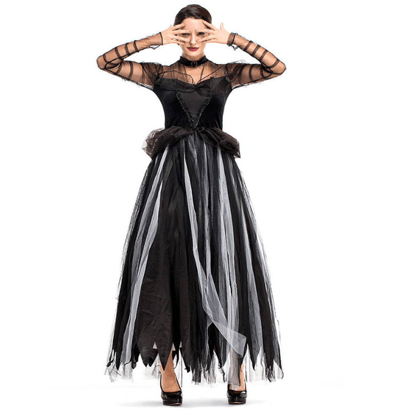 Black Gothic Witch Costume For Adult Women Black ghost bride queen princess Cosplay Party Wizards Fancy Dress Purim Halloween