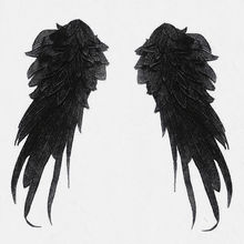 1pair High Quality Black Wings Big Applique Embroidered Sew on Patches Fashion Sticker Craft Repair Diy Home Decoration