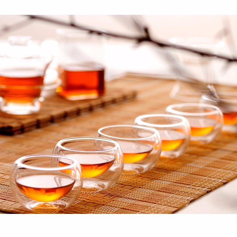 Mrosaa 6Pcs/Set 50ML Clear Water Glass Cup Heat Resistant Double Wall Layer Whisky Glass Milk Coffee Cups Fruit Juice Mug