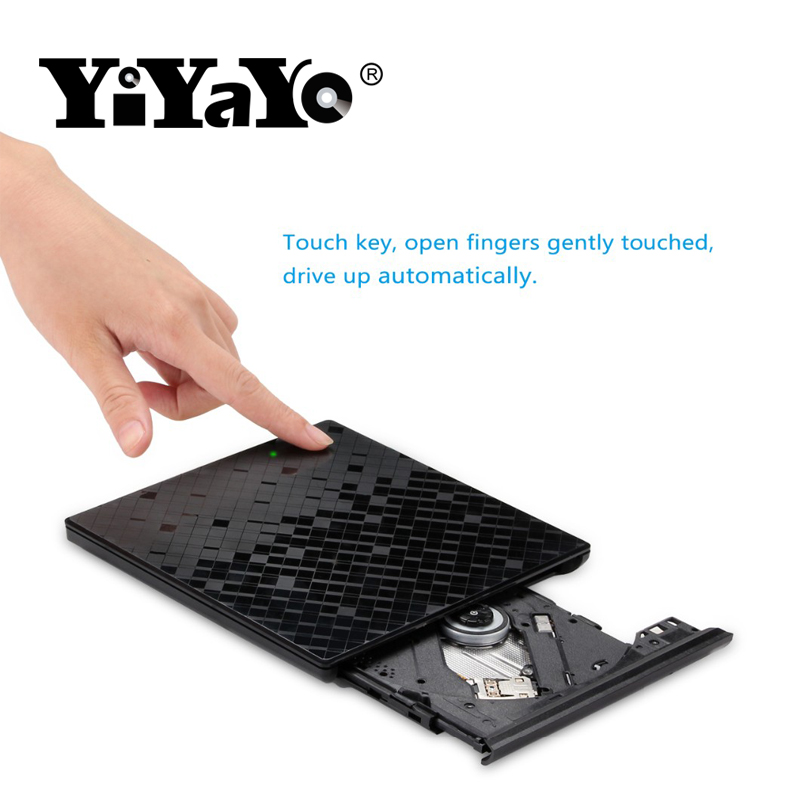 YiYaYo New USB 3.0 Rhombus Design Portable High-Speed DVD+/-RW Burner Touch Control CD+/-RW Player For Macbook/Window OS Compute цена