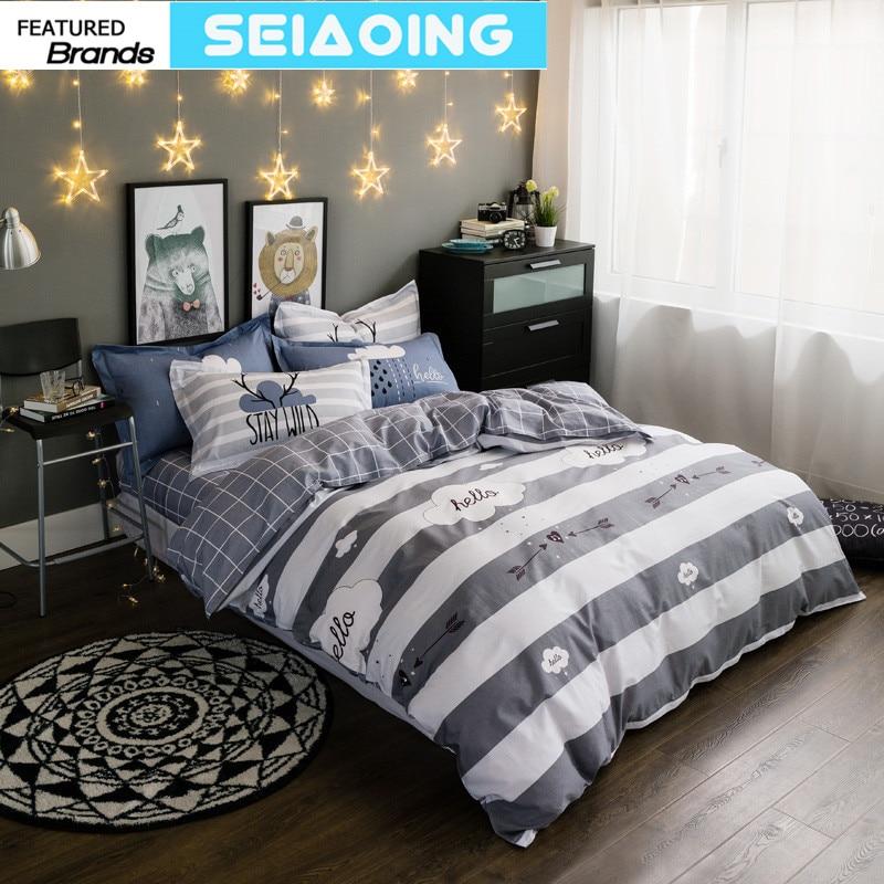 Nordic arrow white 100% cotton plaid 4pc bedding sets queen size 3d comforter cover bed clothes boy decor flat sheet pillowcases ...