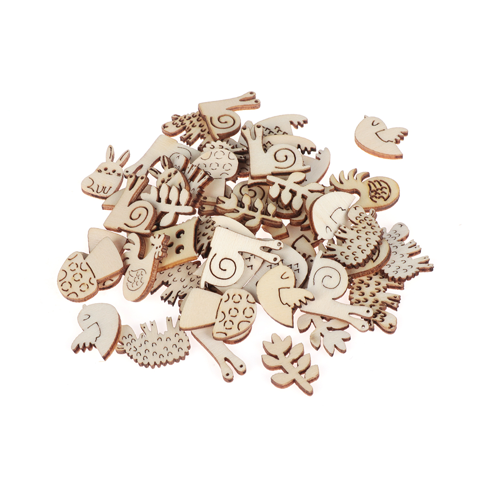 Laser Cut Embellishment Snail Rabbit Animal Pattern Handmade Wooden Craft