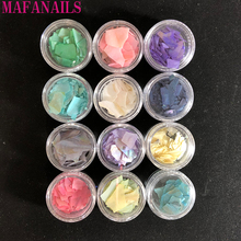 1Set 12 Different Colors Of Nail Shell Slices Natural Pearl Light SeaShell Sequin Charm Manicure Slice DIY Salon Tips