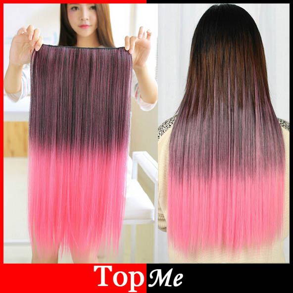 Long Women Hair Extensions Black Pink Color High Tempreture Natural