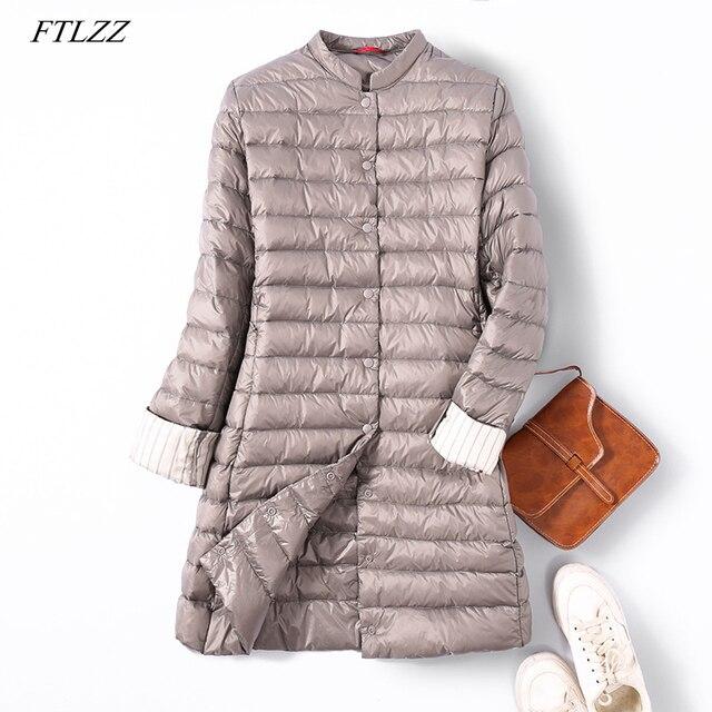 FTLZZ Ультра Легкая длинная куртка на утином пуху женское весеннее теплое пальто с подкладкой женские куртки пальто зимнее пальто лёгкие парки