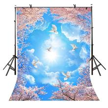 150x210cm Blue sky Sunshine Backdrop Sunlight Pigeons Beautiful Flowers Photography Background for Camera Photo Props