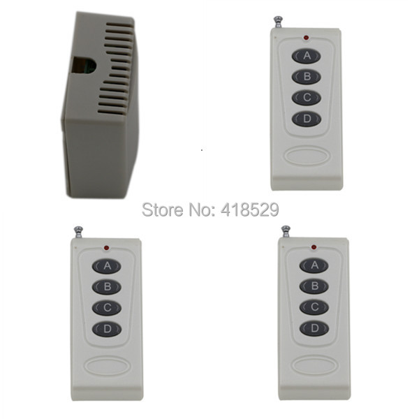Wireless remote switch 12V, light control 4CH RF Switch System,315/433 MHZ 3 Transmitter And 1 Receiver SKU: 5037 wireless pager system 433 92mhz wireless restaurant table buzzer with monitor and watch receiver 3 display 42 call button