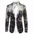 Jaqueta Blazer Terno Homens 2016 Marca de luxo Slim Fit Floral homens Blazer Traje Palco Cantores Ternos de Vestido Dos Homens de Negócios Blazer Homme