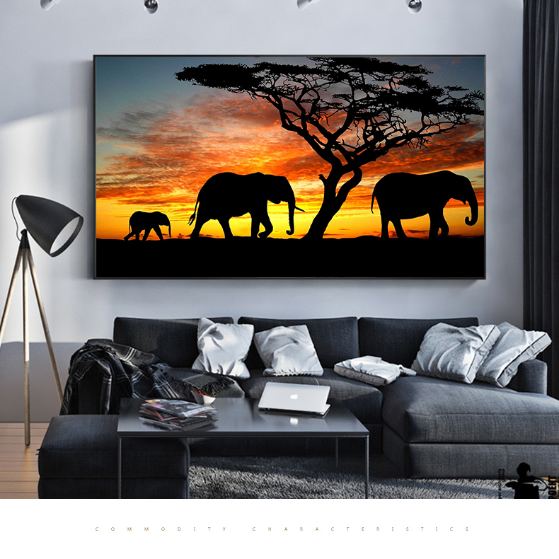 Africa Elephant Sunset Migration Canvas Painting Wall Pictures For Living Room Posters And Prints Art Modern Design Home Decor