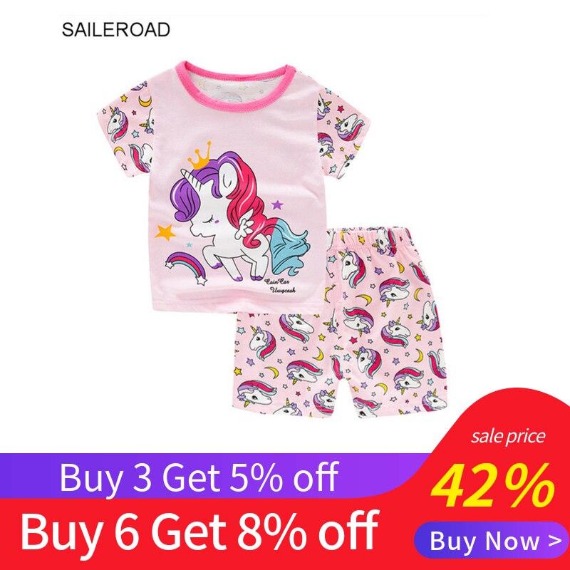 SAILEROAD Girls Summer Short Sleeve   Pajamas   Infantil Girls Clothing   Sets   Kids Unicorn Pyjamas Baby 100% Cotton Boys Pijamas