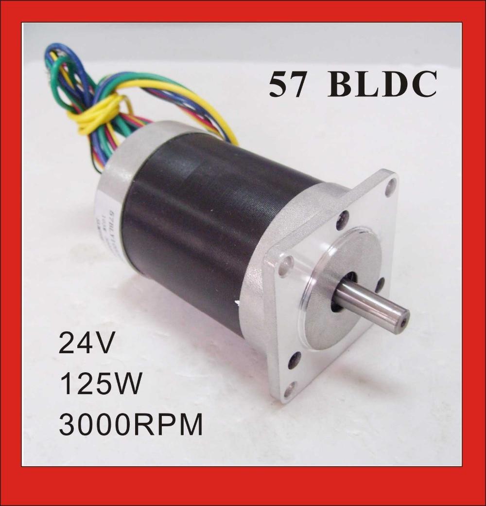 3 Phase 24V 57 Brushless DC Motor 125W 3000rpm 0 4N m 55 6oz in Square