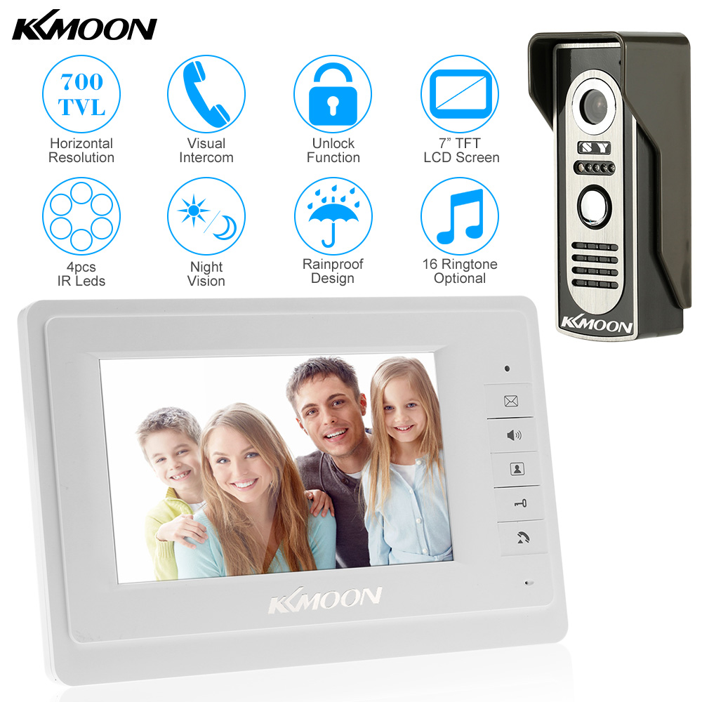 KKmoon Wired Video Door Phone System Visual Intercom Doorbell 7 TFT Color LCD 800x480 Monitor 700TVL