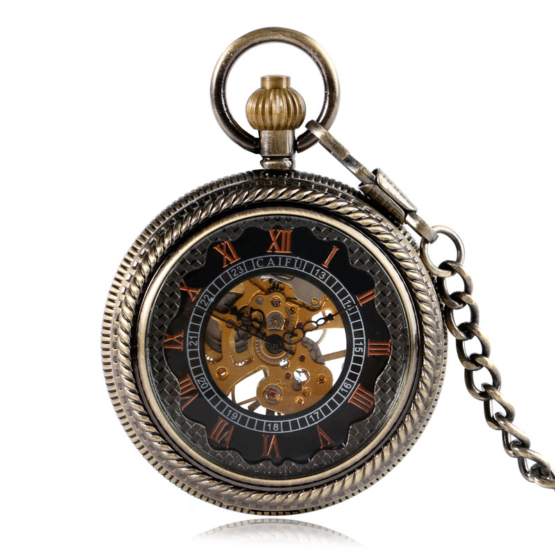 Antique Classic Bronze Transparent Skeleton Gear Mechanical Hand Winding Pocket Watch Steampunk Pendant Chain Xmas Gifts antique pocket watch transparent steampunk double open hunter gear mechanical hand wind fob time hours with chain pendant gift
