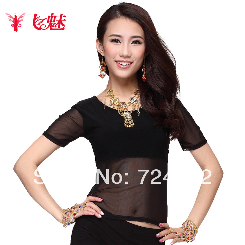Belly Dance Top Clothes Belly Dance Top Short-sleeve Crystal Cotton Top 9