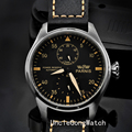 47mm Parnis Power Reserve Black PVD Case Leather Strap Yellow Numbers Automatic Men's Watch PA4706SBY
