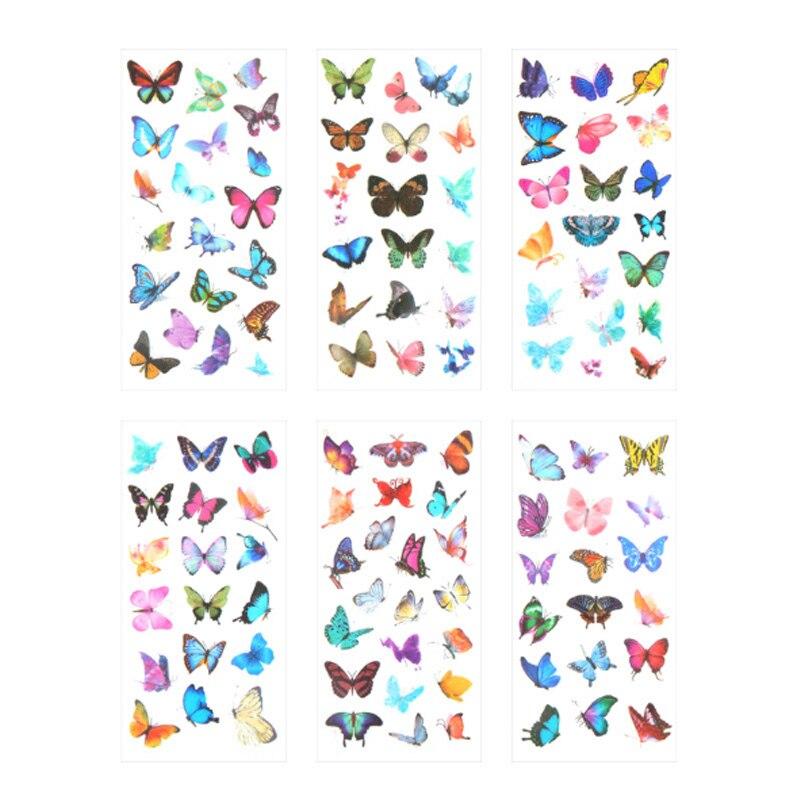 Купить с кэшбэком 6 pcs/set Creative Color butterfly Stickers Diary Sticker Scrapbook Decoration Paper Stationery Stickers School Supplies