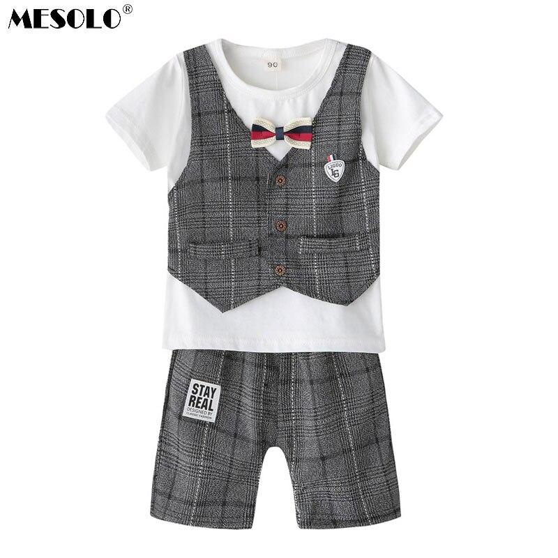MESOLO Die neue 2018 frühling und sommer junge krawatte off 2 kinder anzug jacke grid gentleman bogen eine generation