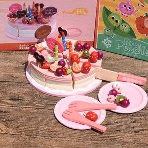 Große Frohe Weihnachten Obst Geburtstag Kuchen & Geschirr Holz Schneiden Spielzeug Entwicklungs Pretend Spielen Spiel Spielset