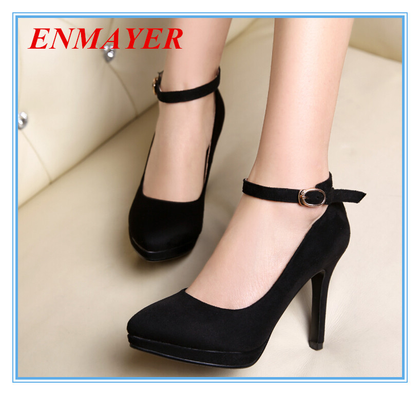 Enmayes Ankle Strap Closed Toe Thin Heels Fashion Pumps -6338