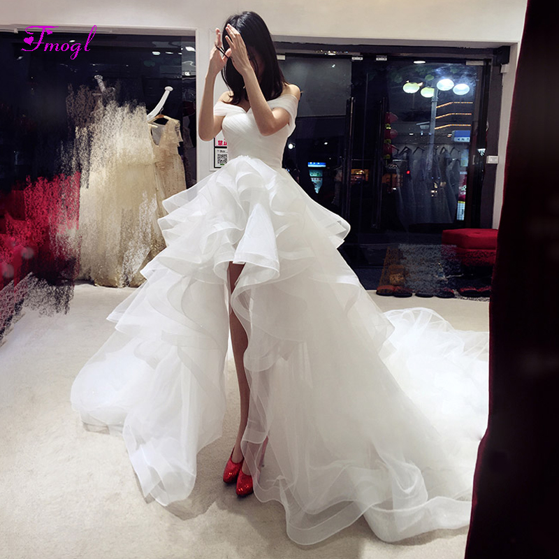 Fmogl Romantic Boat Neck Lace Up High Low Wedding Dresses