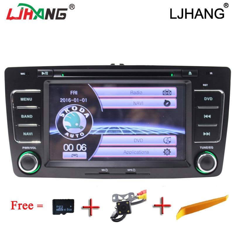 LJHAN 2 Din car dvd Player for Skoda Octavia 2005-2008 2013 multimedia auto radio bluetooth Steering Wheel Wheel GPS Navi TMPS