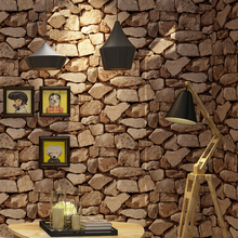 Vintage Wall Paper Waterproof Papers Home Decor 3D Imitation Rock Stone Vinyl Wallpaper For Walls Papel De Parede