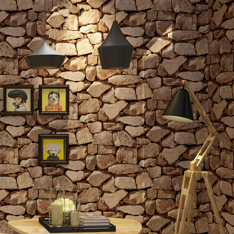 Retro 3d Stereo Imitation Rock Brick Stone Wallpaper Roll For Wall Living Room Dining Room Decor