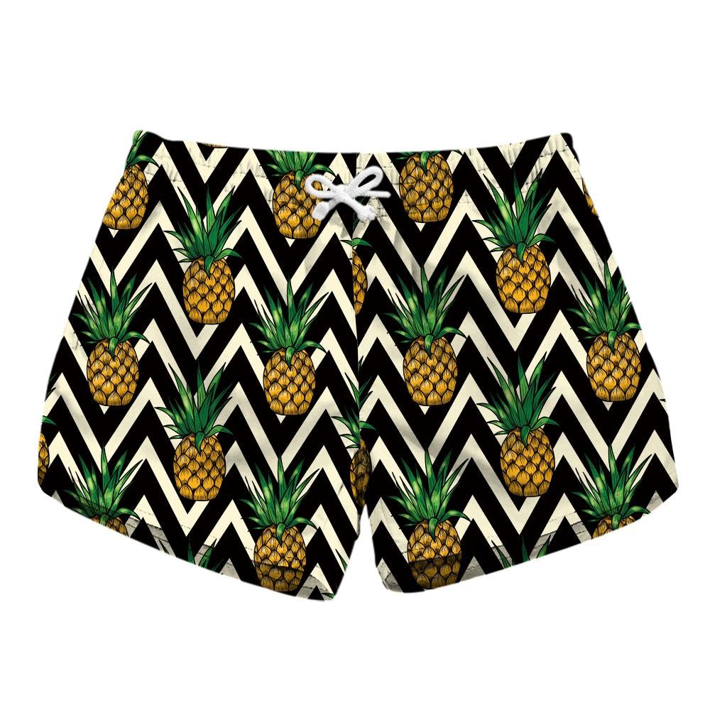 New 2018 Trendy Fashion Women Shorts Summer Beach Casual Pineapple Summer Fruit Pattern Print Loose Shorts Hot Women Board Short