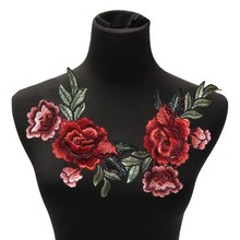 2Pcs/lot DIY Clothes Bust Dress Patches Rose Flower Floral Collar Sew on Patch Cute Applique Badge Embroidered Fabric Sticker
