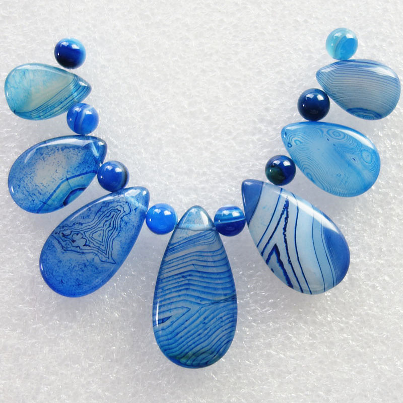 Free Shipping Interesting 7pcs Blue Onyx Stone Teardrop Pendant Set And 8pcs Onyx Stone Beads 5mm SQ01