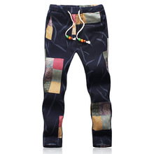 Summer New Mens Ethnic Style Printed Linen Nine Pants Cotton and Linen