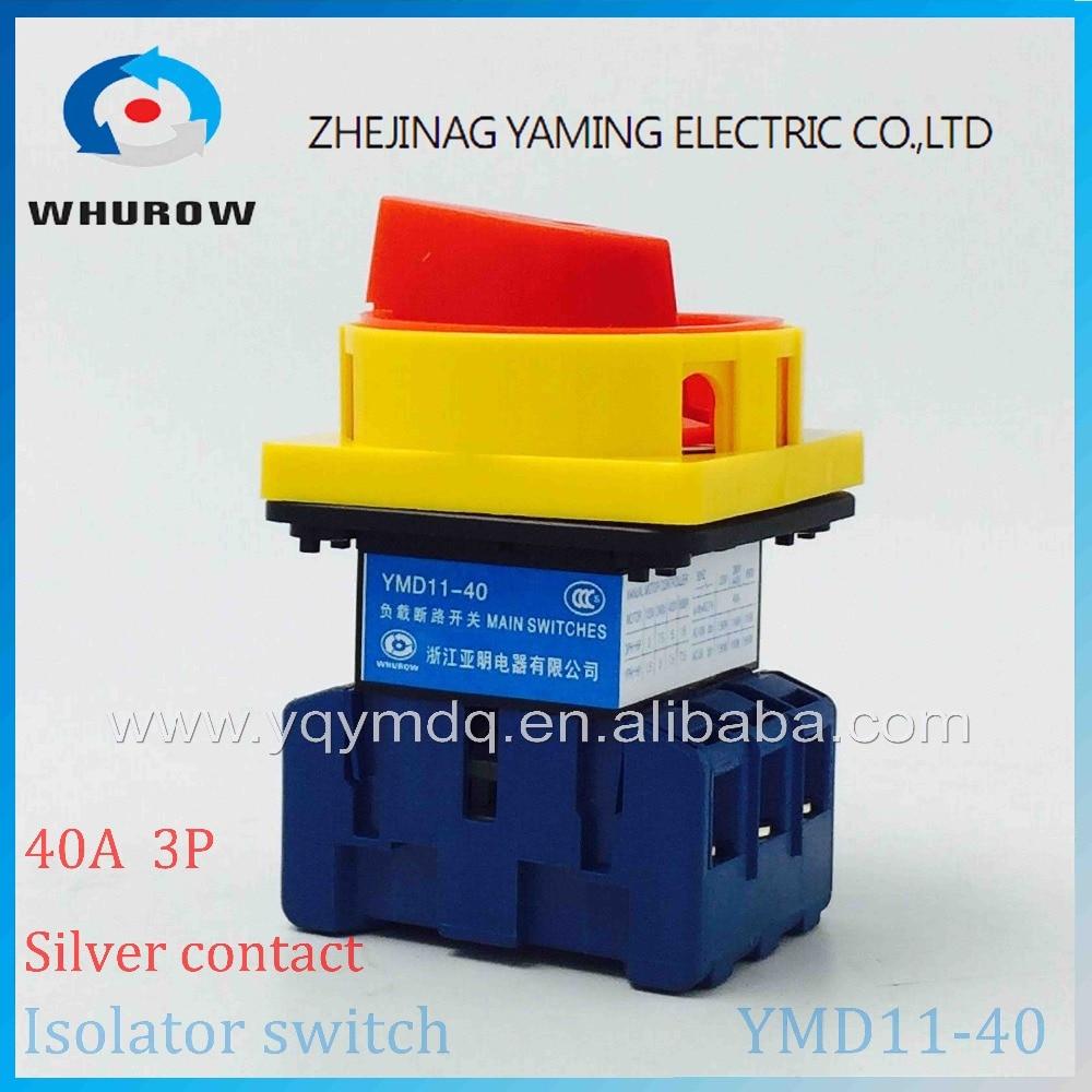 Isolateur commutateur YMD11-40A commutateur de coupure de charge universelle puissance cut off sur-off 40A 3 P arrivée cam commutateur 6 sliver contacts