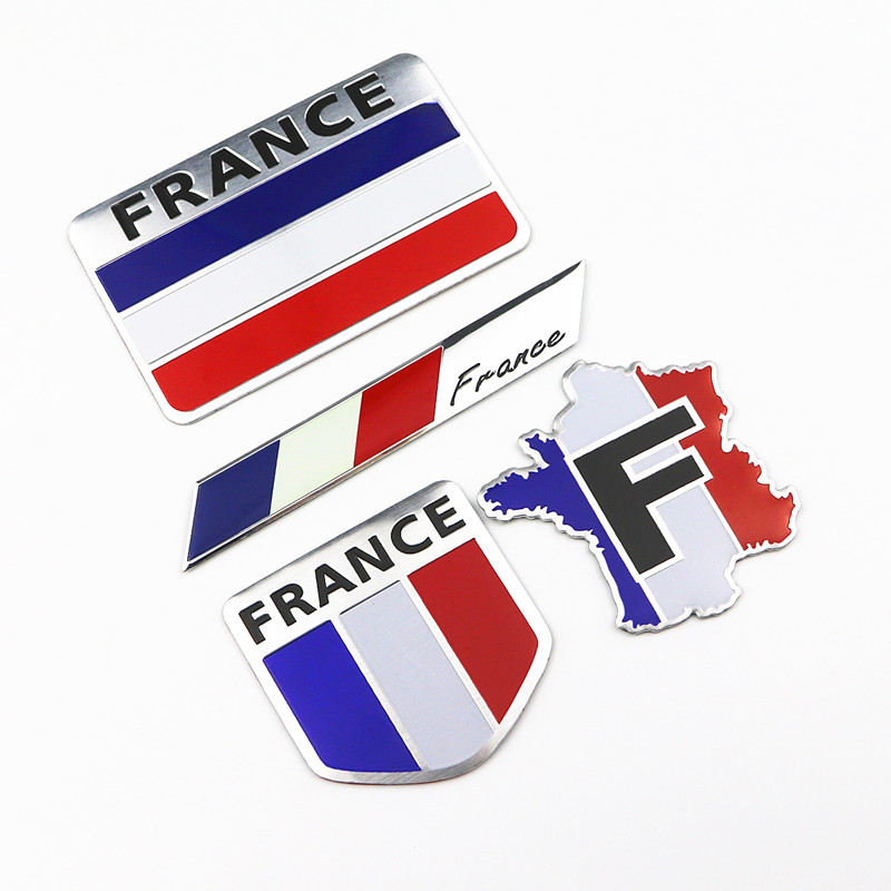 Car Styling 3D Aluminum France Flag Emblem Badge Car Sticker Decals Accessories For Peugeot Citroen Renault DS Car-Styling