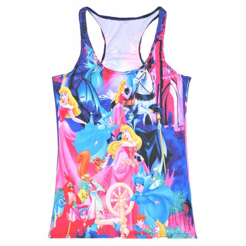 Tops de verano para mujer, sin tirantes, sin mangas, con estampado Digital, camiseta sin mangas de princesa de cuento de hadas, chaleco para mujer