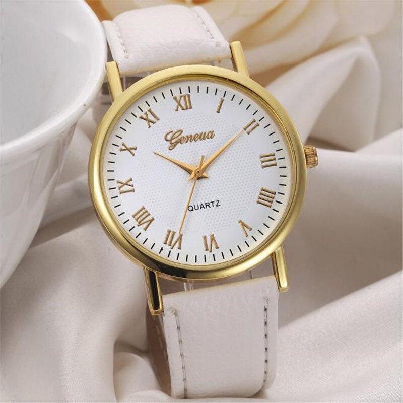 Geneva Новое поступление высокое качество римские цифры Циферблат Женские часы Повседневная мода моделирование кварцевые наручные часы под п...