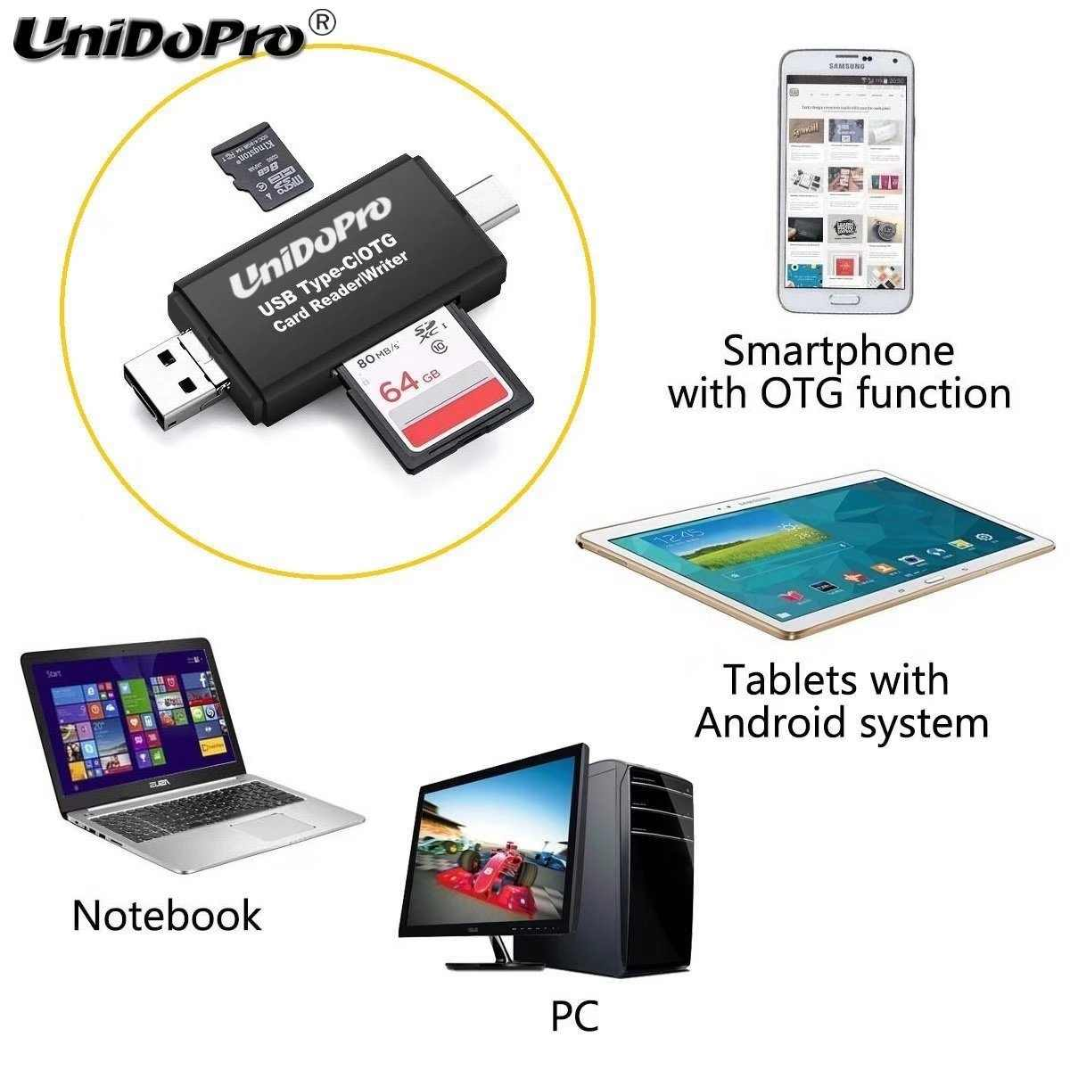 SanFlash PRO USB 3.0 Card Reader Works for Asus MeMO Pad HD 7 Adapter to Directly Read at 5Gbps Your MicroSDHC MicroSDXC Cards