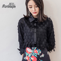 Monbeeph Brand Ladies Tassel Feathers Patchwork Long Sleeve Turn Down Collar Casual Blouses Black White Office Shirts