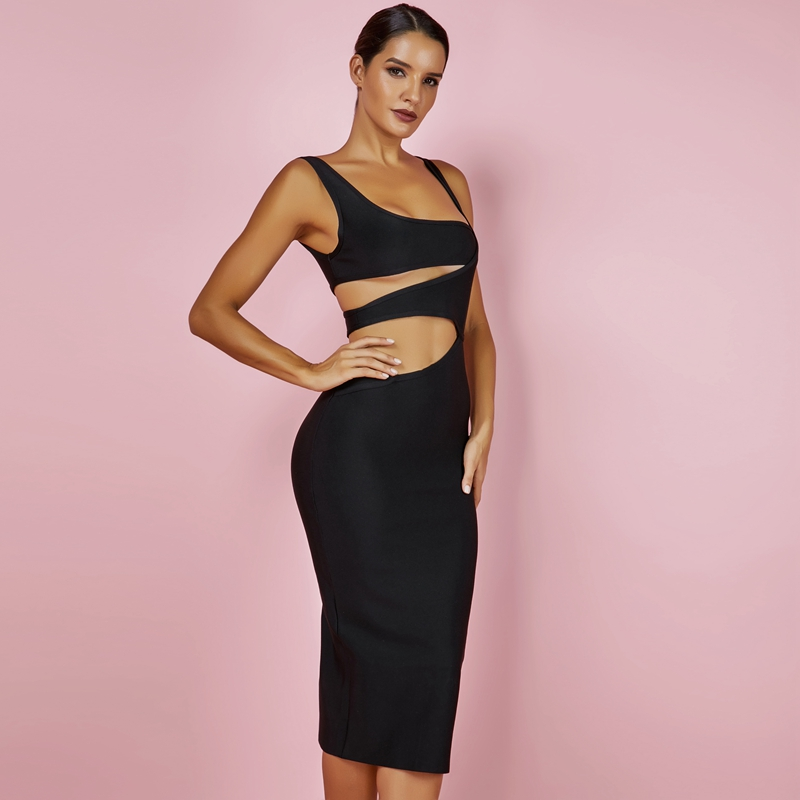 Ocstrade 2018 Black Bandage Dress XL New Summer Pencil Cut Out Bodycon Midi  Dresses for Women Dress Bandage Sexy Club Party Sale-in Dresses from Women s  ... ac3f20b59654