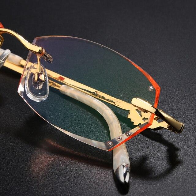 Очки без оправы алмазный обрезки очки для женщин красивая темперамент очки по рецепту близорукость дальнозоркость 131
