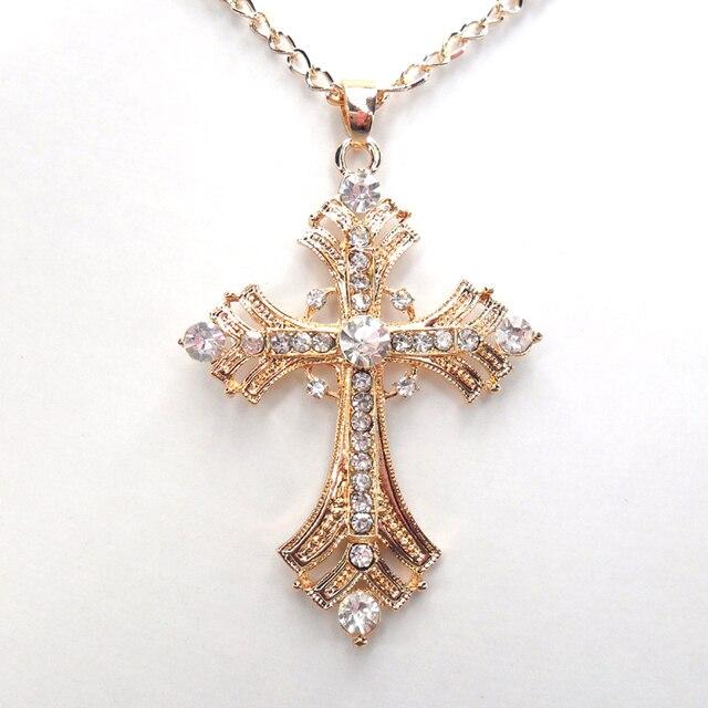91dad7b34ef8c Livraison gratuite croix bijoux pour femmes or argent plaqué pendentif  collier avec chaîne colliers et pendentifs