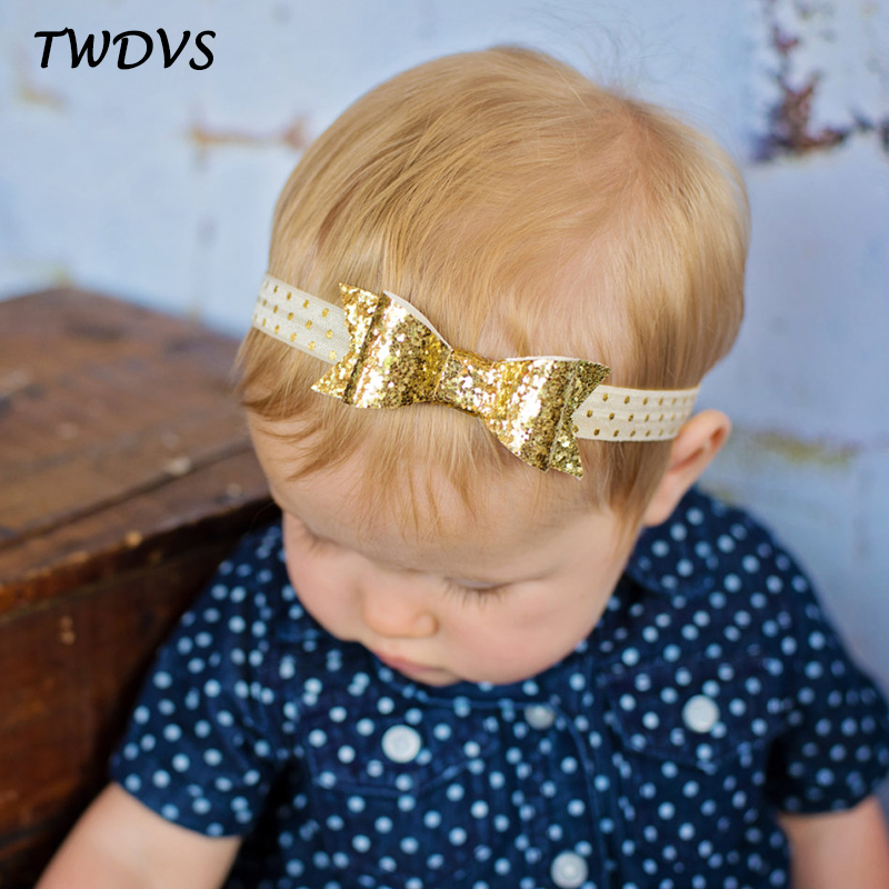 1 pieces New Cut Baby Glisten Bow Knot Headband Girls bow Elasticity headband infant Kids hair accessories W187