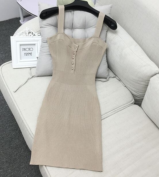 2016 Autumn Women Knitted Dress Slash Neck Solid Straps Female Woman Knitting Casual Dresses Ladies Clothes by Amolapha