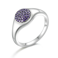Authentic 100% 925 Sterling Silver Round Purple Shimmering CZ Finger Rings for Women Wedding Jewelry S925 Gift PA7633