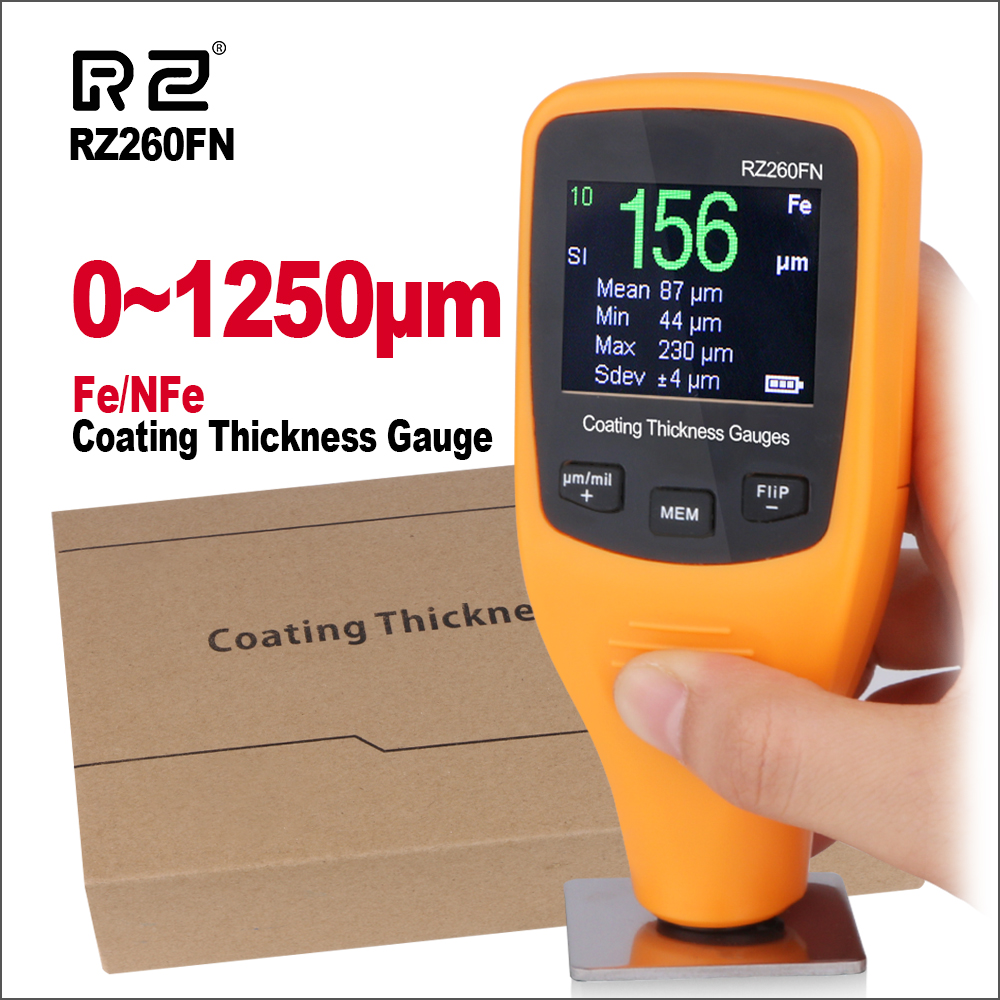 RZ Paint Thickness Gauge Tester Digital Coating Thickness Gauge Meter With Backlight 0 1250 RZ260FN Film