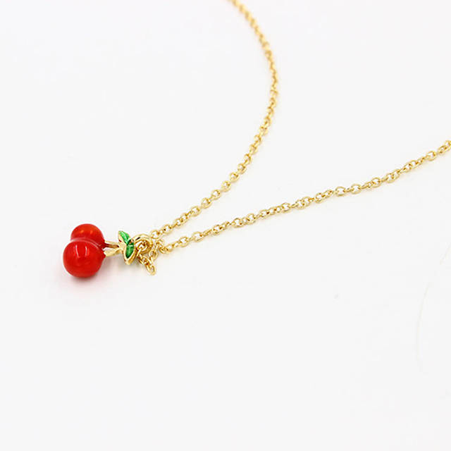 291cb51a02407 Online Shop New Delicate Woman Girl Fruit Jewelry Gold Chains Cherry    Apples Necklace For Women Pendant Necklaces Jewelry Cristmas gift